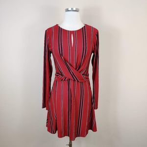 NEW Lily Rose Stripe Fit Flare Long Sleeve Red
